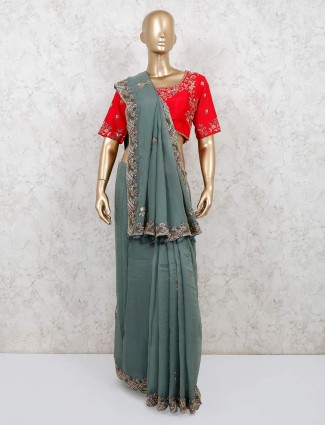 Mint green georgette saree with readymade blouse