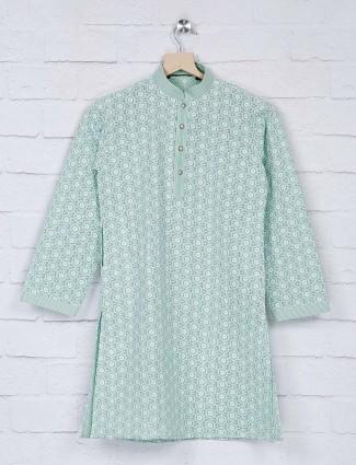 Mint green hue georgette fabric kurta suit