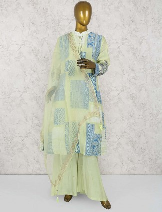 Mint green lovely palazzo suit in cotton