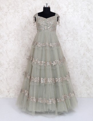 Mint green net fabric party gown