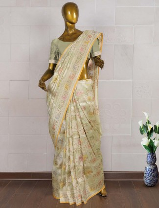 Mint green pure banarasi saree