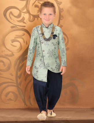 Mint green raw silk party wear dhoti indo western