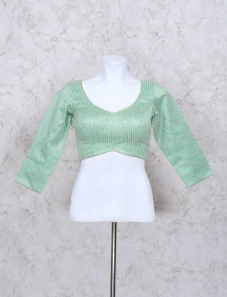 Mint green ready made blouse in silk fabric