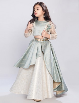 Mint green satin designer jecket style lehenga choli
