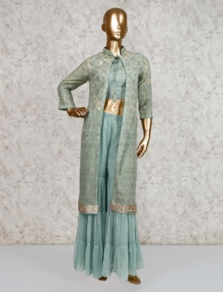 Mint green sharara with crop top and jacket