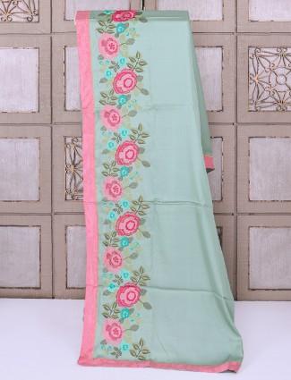 Mint green silk saree