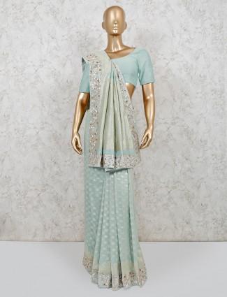 Mint green silk wedding wear saree