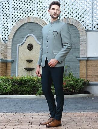 Mint green solid terry rayon stand collar jodhpuri suit