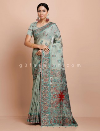 Mint green wedding pashmina silk saree