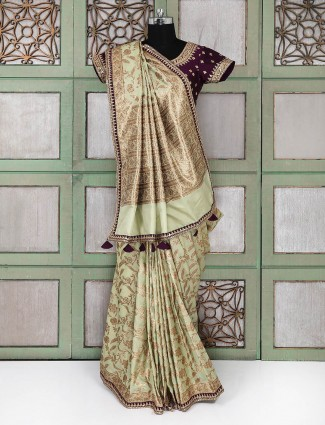 Mint green wedding saree with ready made blouse