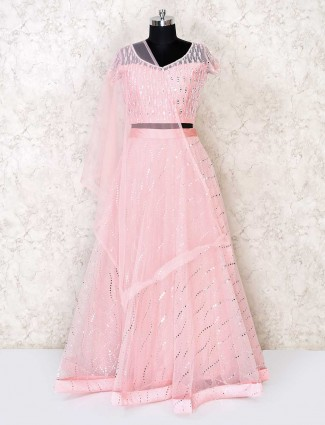Mirror worked lehenga in baby pink color
