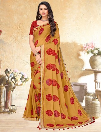 Mmustard yellow saree with print