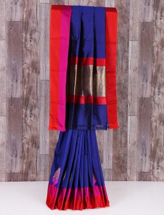 MP silk blue saree