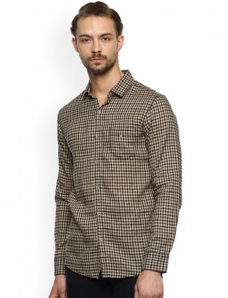 Mufti beige and black color shirt