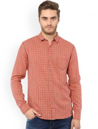 Mufti beige and red cotton shirt