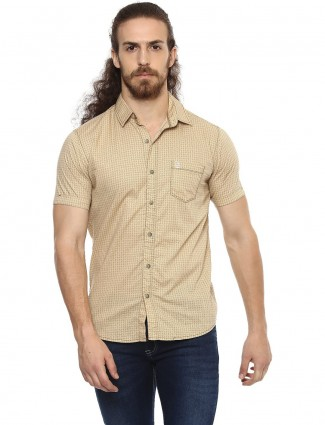 Mufti beige color printed shirt