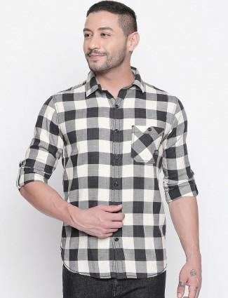 Mufti black and white checks casual shirt