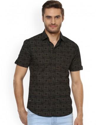 Mufti black color printed shirt