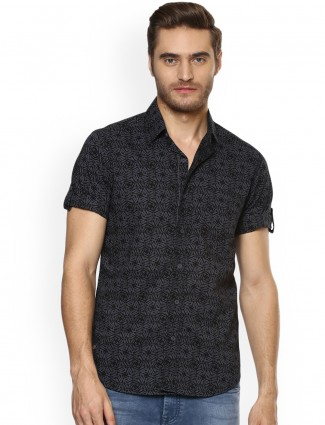 Mufti black printed shirt