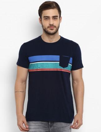 Mufti black stripe cotton fabric t-shirt