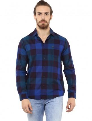 Mufti blue checks pattern shirt