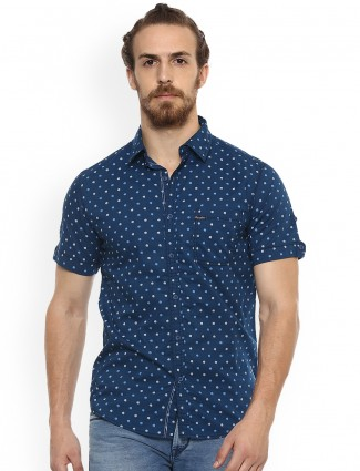 Mufti blue color printed shirt