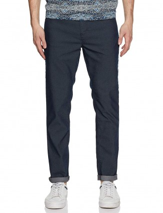 Mufti blue colored solid cotton trouser