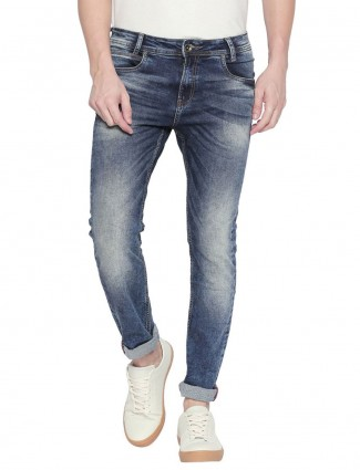 Mufti blue skinny fit solid jeans