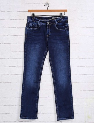 Mufti blue solid nerrow fit mens jeans
