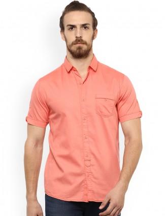 Mufti bright peach cotton shirt
