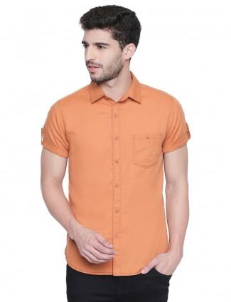 Mufti casual wear orange solid shirt
