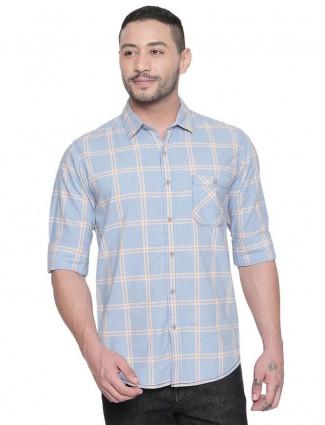 Mufti checks sky blue latest shirt