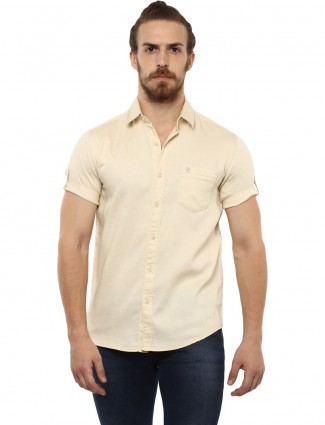 Mufti cream color solid shirt