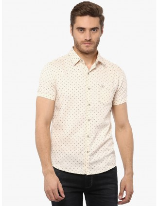 Mufti cream printed shirt