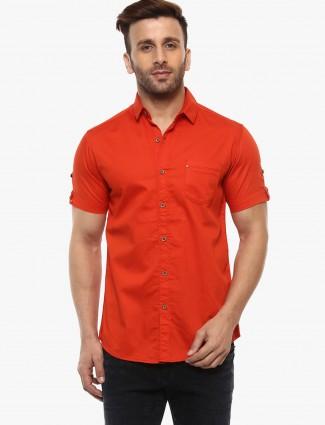 Mufti dark orange plain shirt