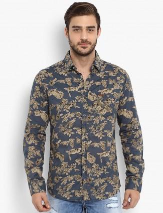 Mufti grey cotton printed shirt