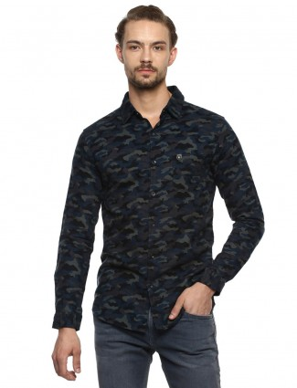 Mufti light black casual men shirt