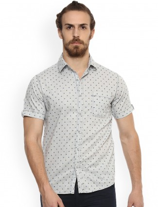 Mufti light grey color cotton shirt