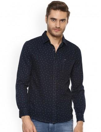 Mufti navy color printed shirt