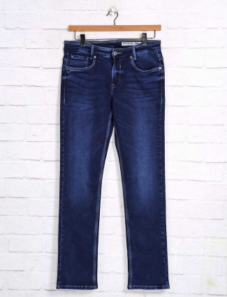 Mufti navy super slim fit solid jeans