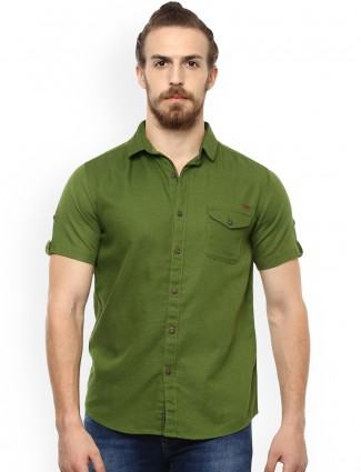 Mufti olive green color shirt