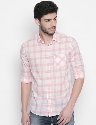 Mufti pink checks cotton shirt