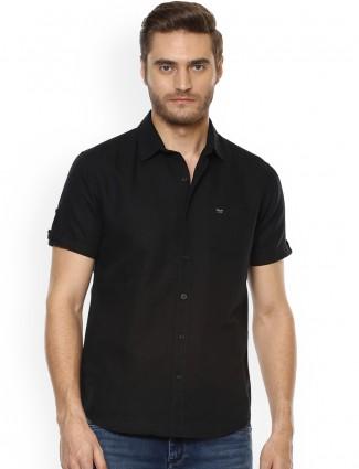 Mufti plain black cotton shirt