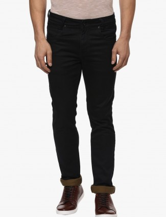 Mufti plain black denim jeans