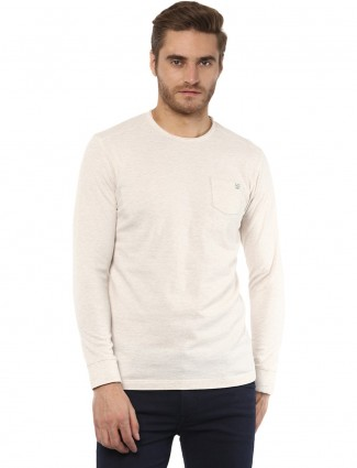 Mufti plain cream cotton t-shirt