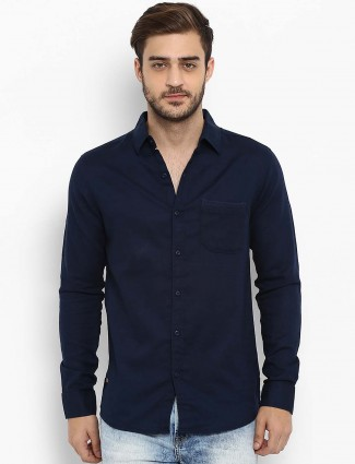 Mufti presented navy solid shirt