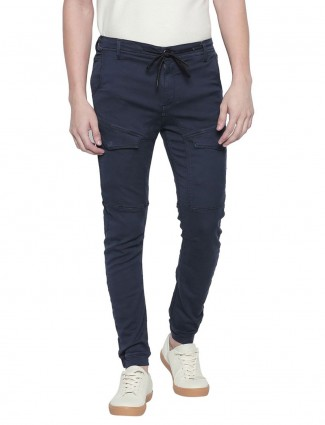 Mufti presented solid navy cargo jeans