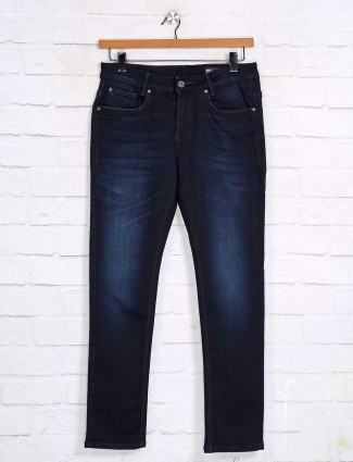 Mufti presented solid navy skinny fit jeans