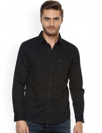 Mufti printed black color cotton shirt