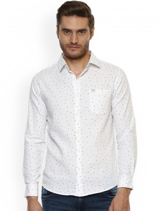 Mufti printed white color shirt